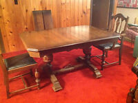 Antique Dining Table, 6 Chairs, and Hutch