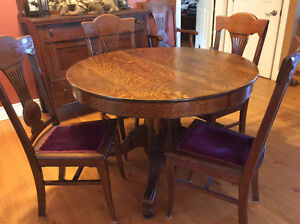 Antique table, chairs and sideboard