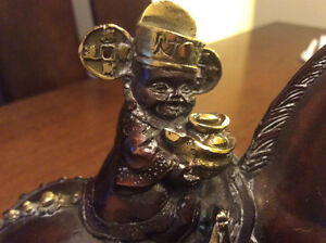Sterling silver carving cans and Bronze horse with lucky God
