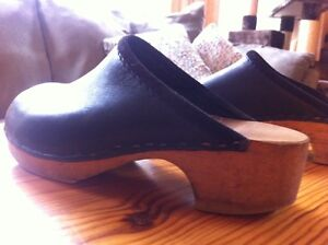 Handmade clogs!  Black leather upper w/ wooden soles