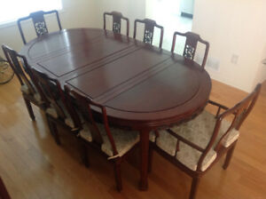 Rosewood Dining Room Set Table Chairs Buffet Hutch