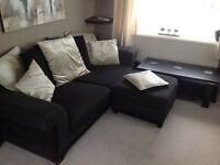 SCS black scatter back fabric sofa, puffet and coffee table