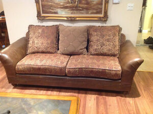 Leather & tweed couch