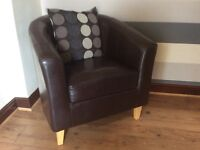 BUCKET CHAIR, BROWN FAUX LEATHER, HARDLY USED