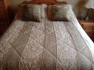 Comforter Set with side table.