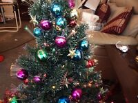 Fibre optic Xmas tree garland and set of Xmas lights