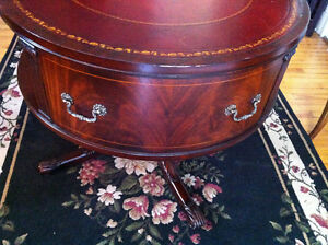 English Rotating Mahogany Drum Table With Embossed Leather Top Peterborough Peterborough Area image 6