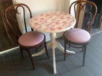 Shabby chic bistro dinning table set with cafe chairs