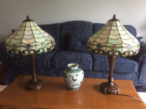 Stained glass table and floor lamps