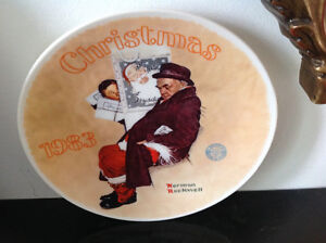 Norman Rockwell 1983 Christmas Santa in the Subway Plate