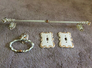 Vintage towel rack and switch plates