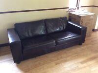 Large dark chocolate brown sofa (real leather)