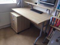 Large desk, pedestal and desk chair, VGC RRP £380