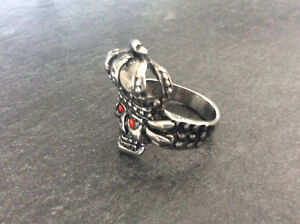 Stainless Steel Skull Ring with Red Eyes & Crown Kingston Kingston Area image 1