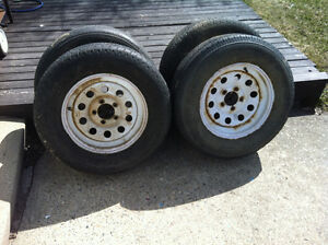 4 - 15 inch trailer tires with tires