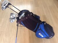 GOLF CLUBS AS NEW FULL SET OF LIGHT WEIGHT CAVITY BACK IRONS & bag .