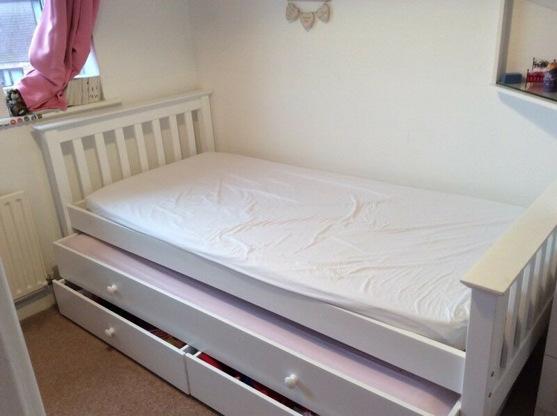 Large Single Bed With Under Bed And Drawers With 2 Mattress Wood