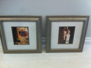 Silver framed, photos of wine (x2)