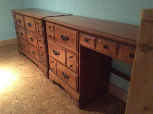 Solid maple dresser and desk