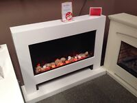 Electric Suite 'Galaxy' in White Finish with Pebbles, Freestanding, 2KW Fan Heater
