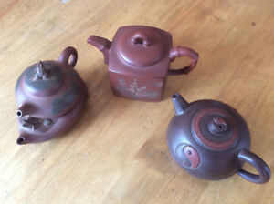 collection of 3 Chinese teapots