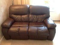 Matching 3 Seater & 2 Seater Brown Quality Leather Sofas