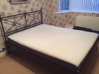 Metal/Wood Veneer Frame King Size Bed and Mattress
