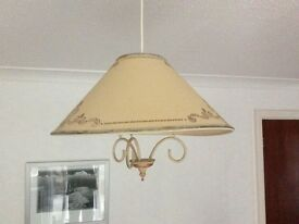 Three matching ceiling pendant shades and a lamp shade. All matching and all for £10
