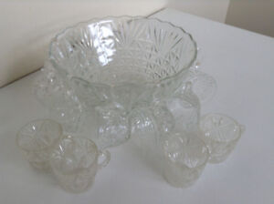 Crystal Punch Bowl with 12 Cups – Almost New