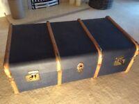 Vintage old steamer travel trunk box chest storage display