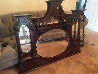 Genuine Victorian mahogany wall or overmantel mirror
