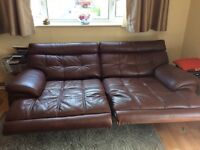 Sofology Violino Brown Leather Couch with Power Recline