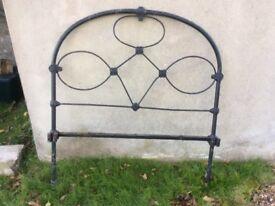 Antique vintage black cast iron metal single bed head board