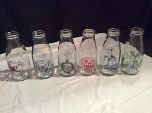 6 Decorative Milk Bottles