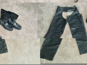 Motorcycle Chaps&Boots(size 12- Harley Davidson): Rated like new