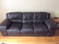 3 Seat DFS Sofa finished in dark brown leather.