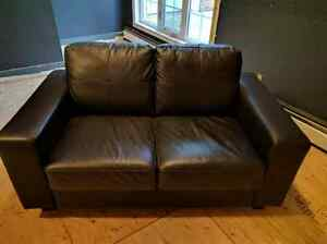 Black Leather Two Seater Couch