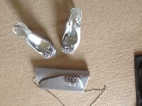 Size 3 silver shoes & matching bag