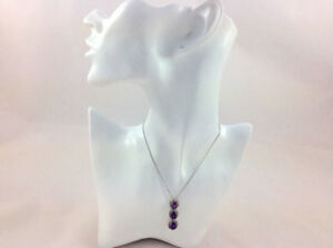 Sterling Silver 3 Amethyst Droplet Necklace