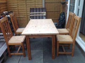Massive pine wood table + 4 chairs