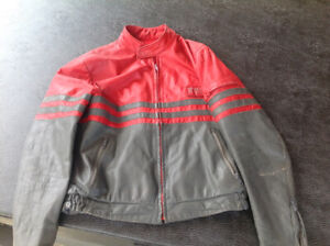 Fox leather motorcycle jacket red grey men's large retro