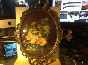 Vintage Made in Italy Oval Glass Ornate Metal Frame