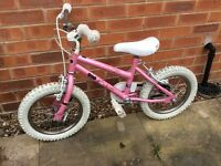 Girls pink bike suitable for age 4 / 5 / 6