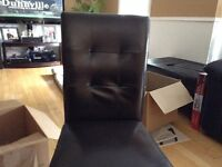 $25 each brown faux leather dining chairs