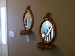 Tuscan-EuroMarchi wall accents (oval mirrors with small shelves)