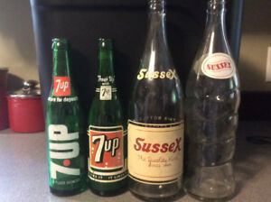 "Antique crocks,and 2popbottles ""2 small 7 up , 2 large Sussex """