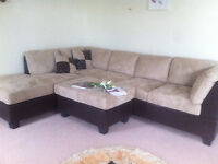 2 inter-conected sofas, table and cushions