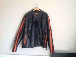 Mens Black & Orange Leather Motorcycle Jacket ..... Mint