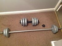York Vinyl Barbell and Dumbbell set