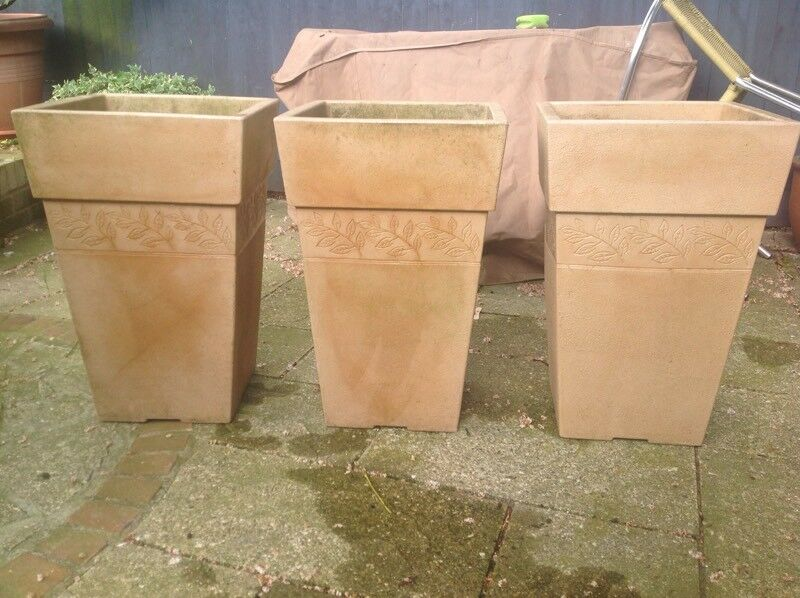 3 X Stewart Sylvan Tall Tapered Square Patio Garden Planters Pots